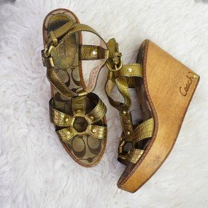 Coach Mayra Gold Strappy Wooden Wedges 8